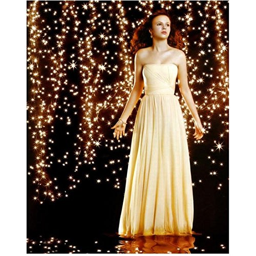 Amber Tamblyn 8x10 Photo Sisterhood of the Traveling Pants 127 Hours Django Unchained The Ring Pale Yellow Strapless Formal Dress Twinkle Lights kn ()