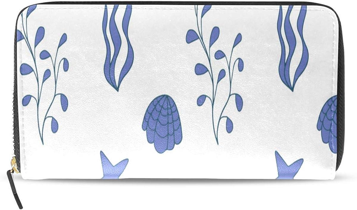Cute Small Wallets For Women Moss Green Summer Kelp And Seaweed Long Passport Clutch Purses Zipper Wallet Case Handbag Money Bag For Lady Women Girl Clutch Purse