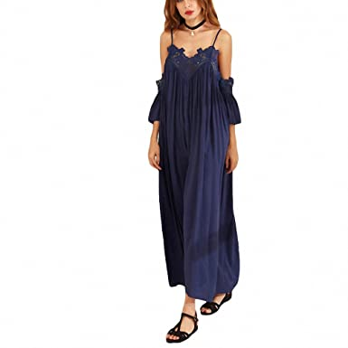 f9002759c6 Womens Summer Beach Maxi Dresses Ladies Navy Spaghetti Strap Cold Shoulder  Short Sleeve Pleated Lace Trim