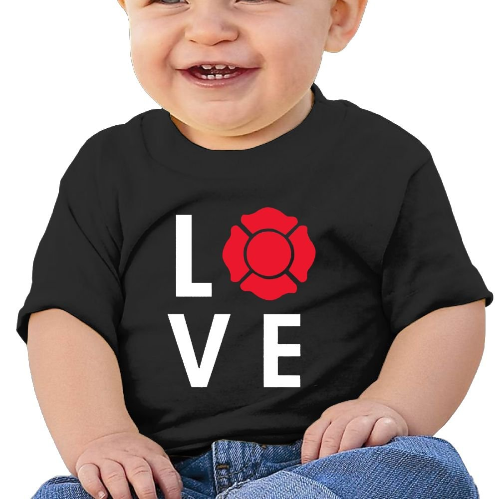 REBELN Love My Firefighter Cotton Short Sleeve T Shirts For Baby Toddler Infant