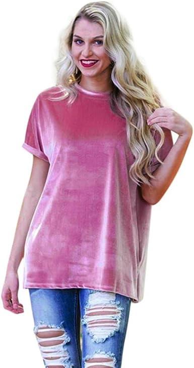 Camisetas y tops,Koly Mujer Casual Blusa Cuello O Camiseta Verano Terciopelo Oficina Tee Encaje Bolsillo Pleuche Manga corta Elegante terciopelo Blusas y camisas Pullover T-Shirts (Rosado, L): Amazon.es: Ropa y accesorios