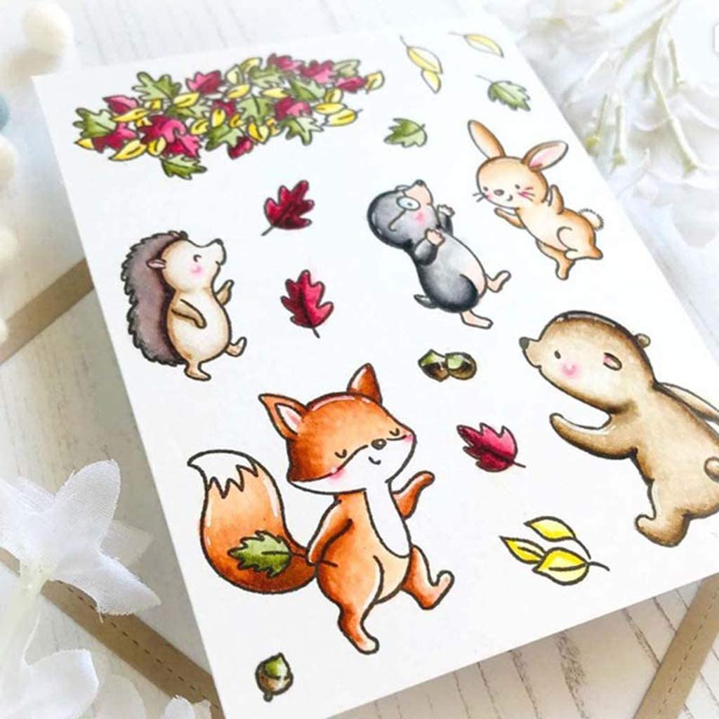VVXXMO Animal Friends DIY Silicone Transparent Tampon en Caoutchouc Cling Film Timbres Scrapbooking Embossage Album Carterie Photo D/écor