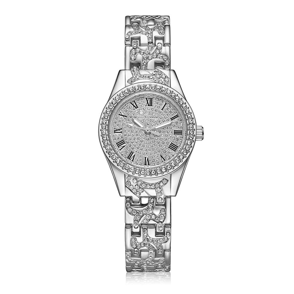 Lvpai Roman Numbers Women Bracelet Wrist Watches with Rhinestones Analog Quartz P067 (Silver)