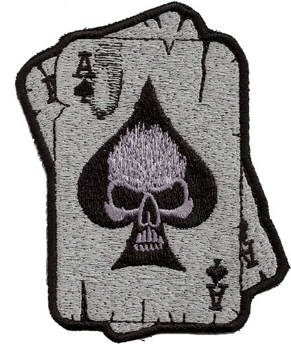 Pokercards KULT Biker Aufn/äher Patch 2 Aces Skull