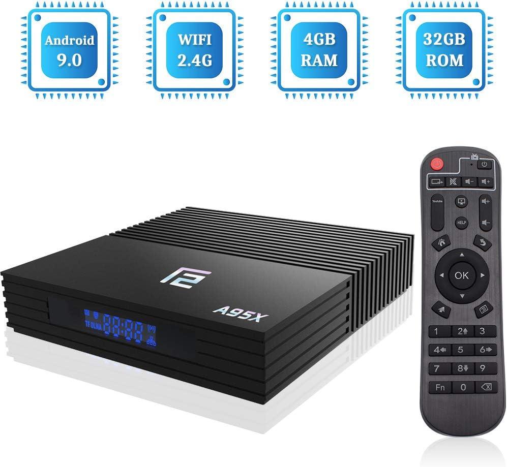 Sidiwen Android 9.0 TV Box F2 Smart Box 4GB RAM 32GB ROM Amlogic S905X2 Quad-Core 2.4G WiFi Ethernet Bluetooth 4.2 Soporte 3D 4K Ultra HD Reproductor De Video