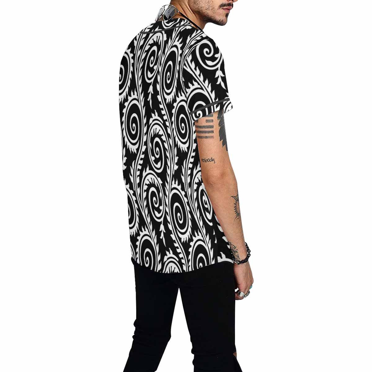 INTERESTPRINT Mens Button Down Baseball Jersey Pattern with Floral Background