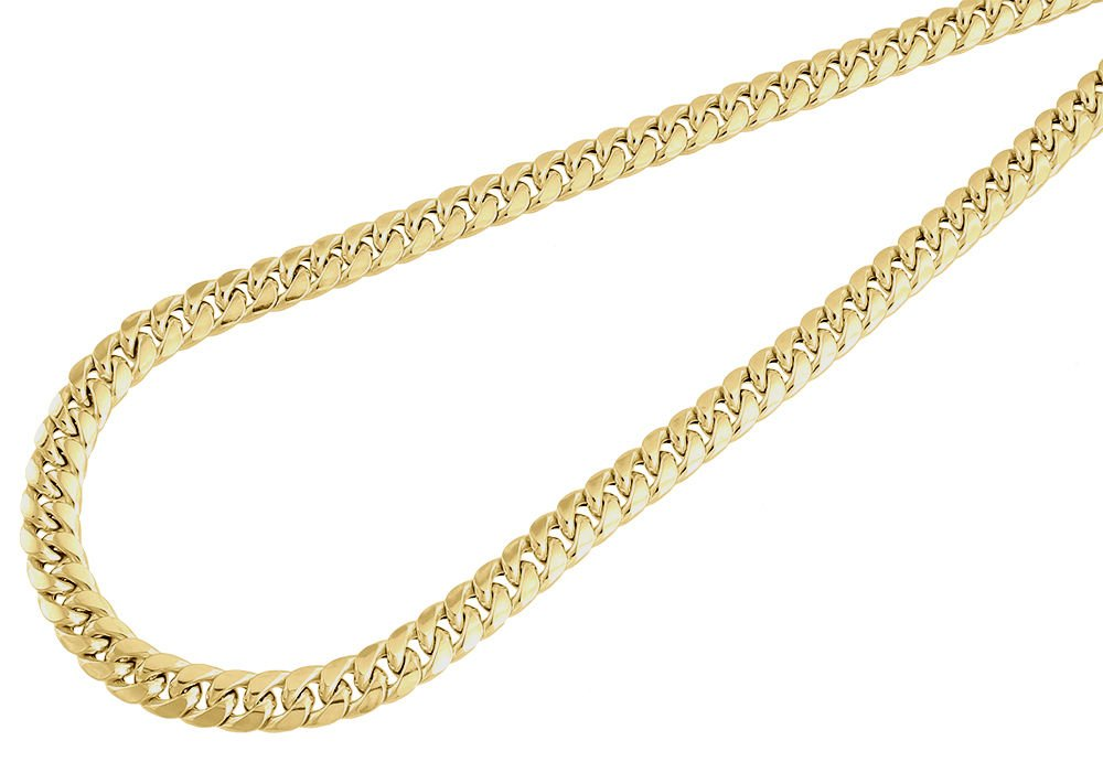 Paradise Jewelers 10K Yellow Gold 6mm Hollow Miami Cuban Link Chain Necklace Lobster Clasp