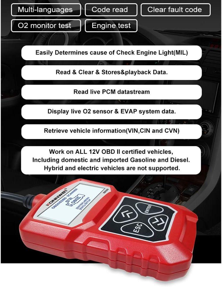 EKUPUZ Car Diagnostic Scanner Tool KW309 Car Fault Diagnostic Tool EOBD//OBD-II Engine System Diagnostic Tools