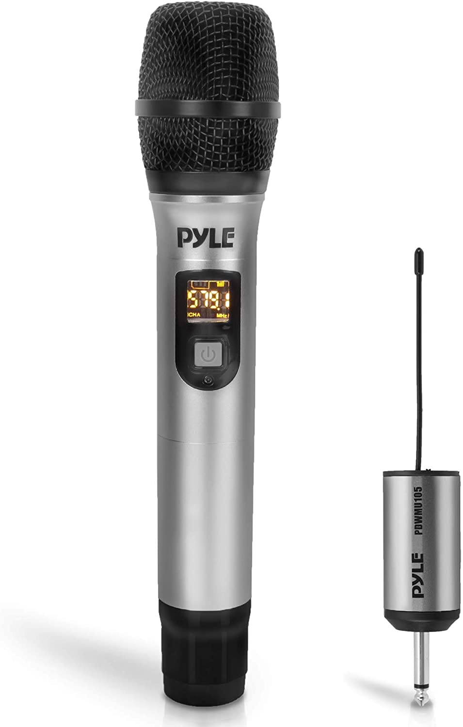 Portable UHF Wireless Microphone System - Professional Battery Operated Handheld Dynamic Unidirectional Cordless Microphone Transmitter Set w/Adapter Receiver, for PA Karaoke DJ Party - Pyle PDWMU105