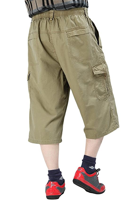 9096d42090 Chickle Men's Cotton Loose-Fit 3/4 Long Cargo Shorts 3XL Oliver Green |  Amazon.com