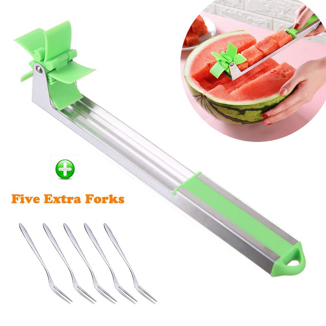 IRmm Watermelon Windmill Cutter Slicer Cutter 2019 Novel Cubes Cutter Tongs Corer with 5 Fruit Forks for Watermelon, Honeydew Melon, Canary Melon, Cantaloupe by IRmm