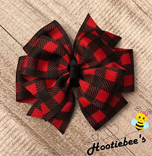 (Red Buffalo Check Plaid Pinwheel Hair Bow)