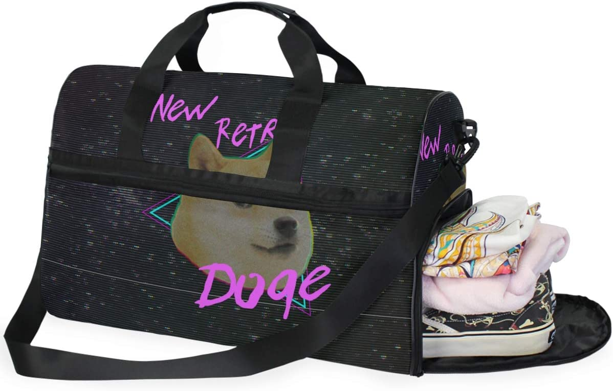 Travel Duffels New Retro Doge Duffle Bag Luggage Sports Gym for Women /& Men