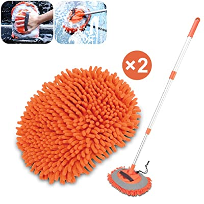 Ordenado Car Wash Mop Mitt Brush Duster 2 in 1 Removable with Chenille Microfiber Scratch Free Cleaning Tool Dust Collector Supply 62in Aluminum Long Handle 180°Rotation for Washing Car Truck RV SUV: Automotive