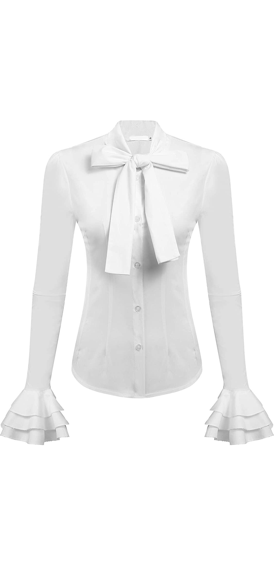 Women Bow Tie Neck Blouses Work Tops Long Sleeve Casual
