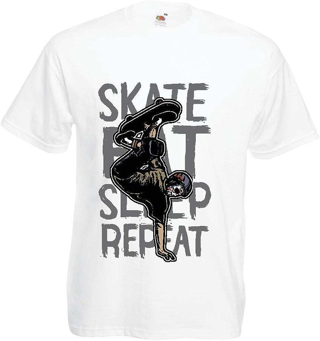 lepni.me Camisetas Hombre Eat-Sleep-Skate-Repeat para el Amante del monopatín, Regalos del Skater, Ropa Que anda en monopatín: Amazon.es: Ropa y accesorios