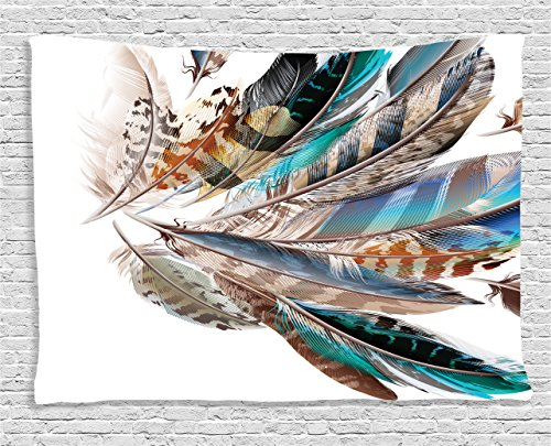 Ambesonne Feather House Decor Tapestry, Vaned Types and Natal Contour Flight Feathers Animal Skin Element Print, Wall Hanging for Bedroom Living Room Dorm, 60 W X 40 L inches, Teal (Flight Tapestry Wall)