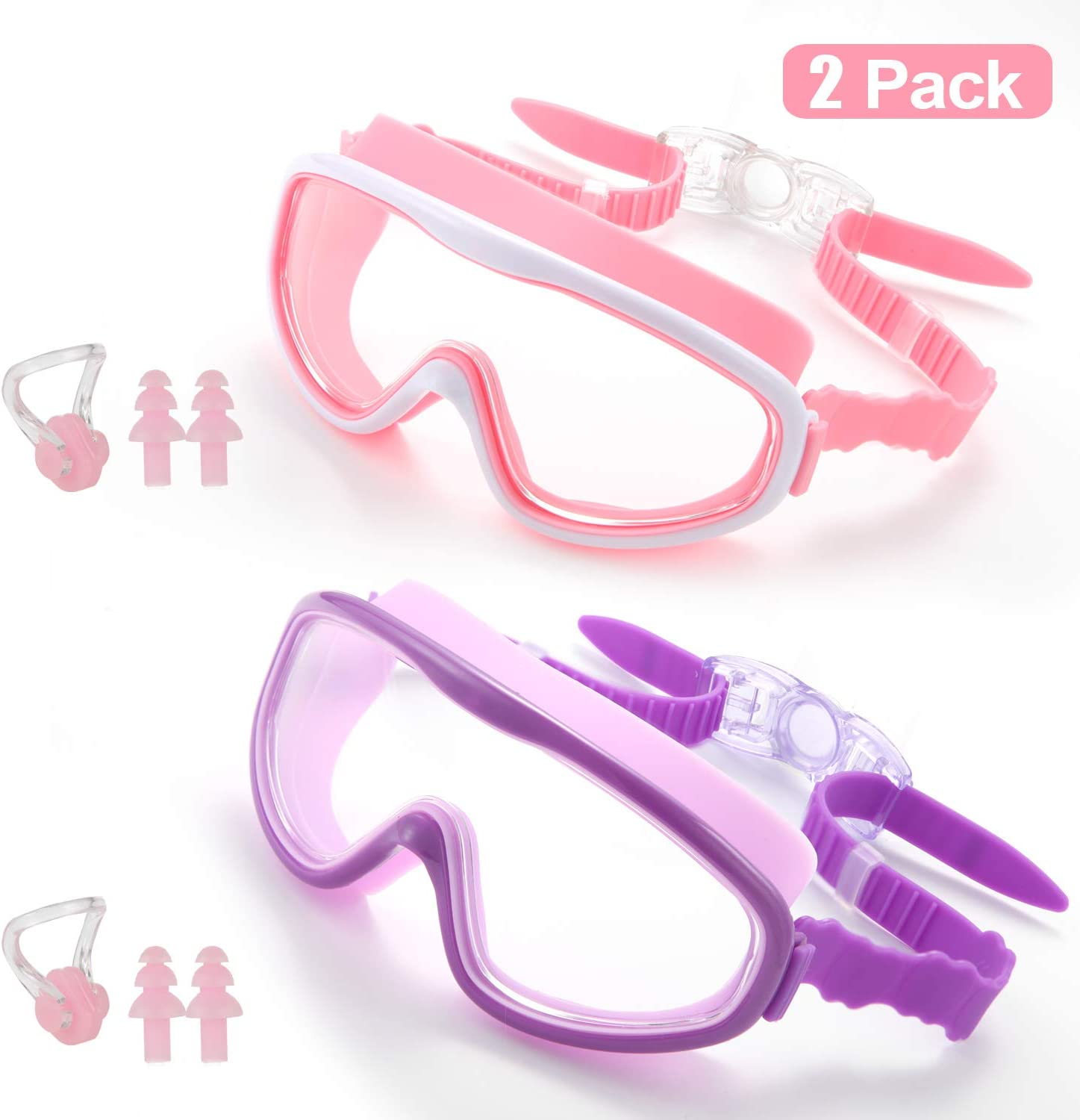2 Pack Swimming Goggle for Kids Teen, No Leak Anti-Fog UV Protection Wide View