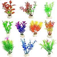 CNZ Assorted Color Aquarium Plastic Plant Decoration w Ceramic Base (10-piece) by CNZ