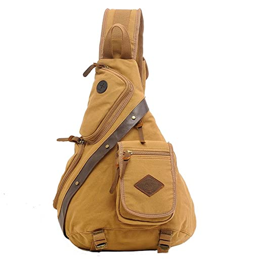 f7581f7e9412 Aibag Chest Pack Sling Bag Canvas Crossbody Bag for Travel Outdoor