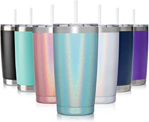 Civago 20oz Insulated Stainless Steel Tumbler, Coffee Tumbler with Lid and Straw, Double Wall Vacuum Travel Coffee Mug, Powder Coated Tumbler Cup (Mint Shimmer,1)