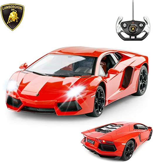 Amazon Com Rastar Rc Lamborghini Toy Car 1 14 Lamborghini Aventador Lp700 4 Remote Control Car Working Lights Orange Manufacturer Toys Games
