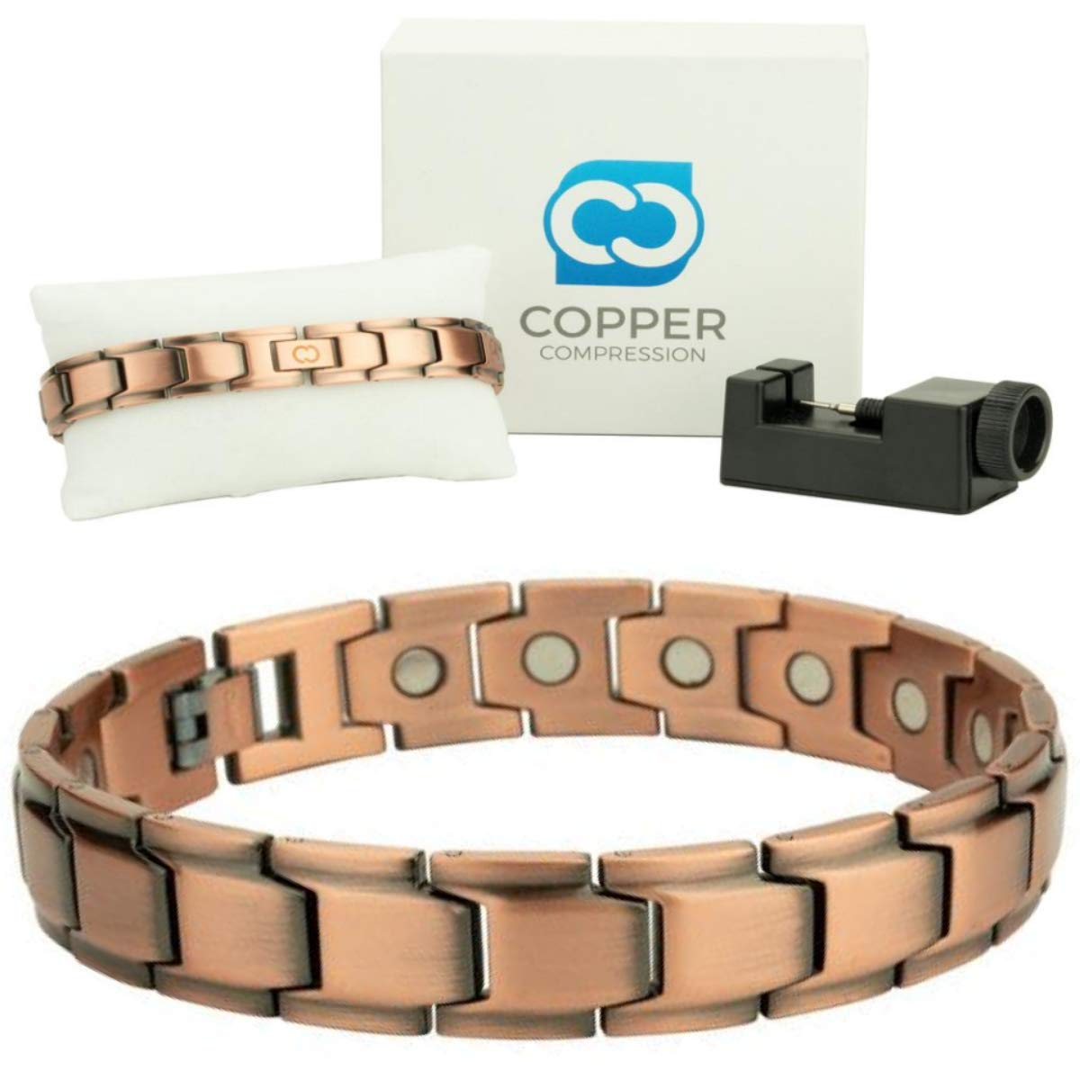 Copper Compression Elegant Luxury Copper Bracelet for Arthritis - 99.9% Pure Copper Magnetic Therapy 18 Magnet Link Bracelet for Men + Women. Therapeutic Bracelets for Carpal Tunnel Arthritis, Golf by Copper Compression