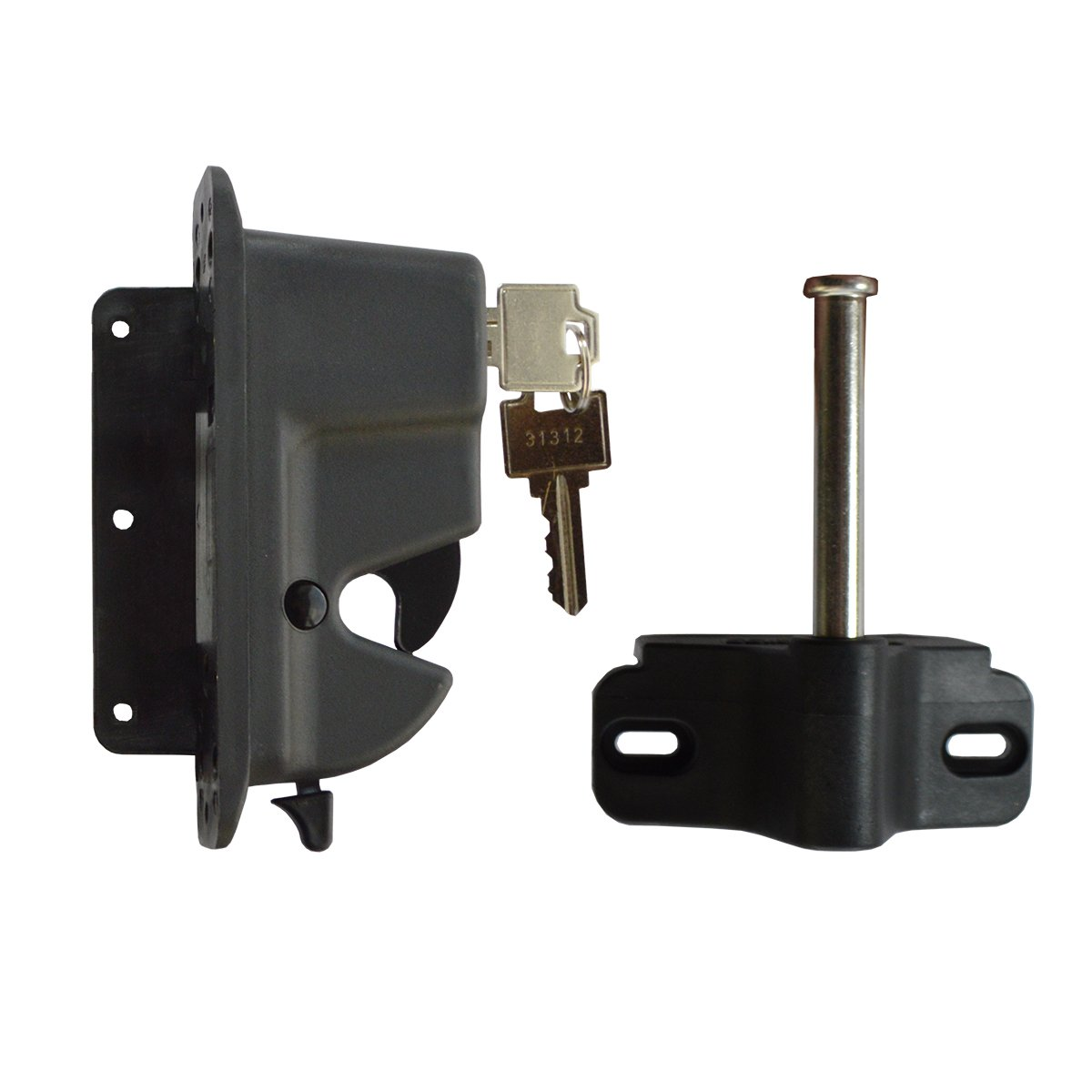 Keystone Black Nylon Polymer Key-Lockable Latch | 1 Sided | Keyed Alike | KLADV-P1-BK-KA by Nationwide Industries (Image #1)