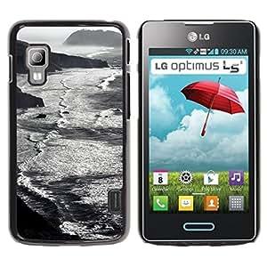 For LG Optimus L5 II Dual E455 E460 Case , Beach Waves Mountains Black - Diseño Patrón Teléfono Caso Cubierta Case Bumper Duro Protección Case Cover Funda