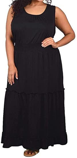 Lucy Diamonds Women\'s Plus Size 3 Tiered Peasant Style Maxi Dress 4X 5X 6X