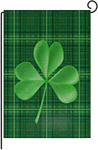 TOPSOSO St. Patrick's Day Welcome Garden Flag Vertical Double Sided Green Plaid Shamrock Decorative 3D Printing Spring House Flag for Party Home Yard Outdoor Decor 12.5 X 18 Inch