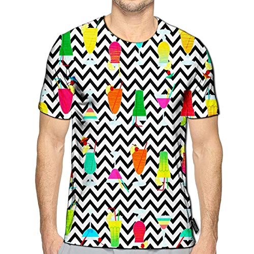 3D Printed T-Shirts Different Colorful Cocktails On A Geometric Short Sleeve Tops Teesd