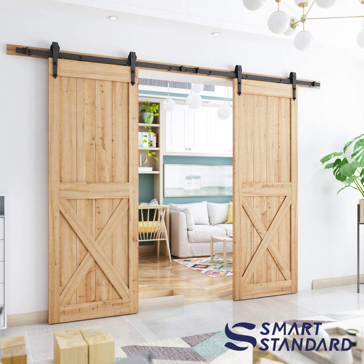Arrow Shape Hanger Two-Piece Rail Black Super Smoothly and Quietly SMARTSTANDARD 10FT Heavy Duty Double Gate Sliding Barn Door Hardware Kit Fit 30 Wide WoodPanel Easy to Install