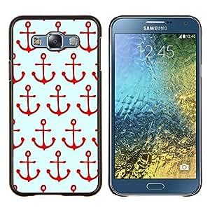 YiPhone /// Prima de resorte delgada de la cubierta del caso de Shell Armor - Patrón de Navegación Rojo Mar Marinero Barco - Samsung Galaxy E7 E700