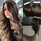 "Fshine 20"" Full Head Tape Hair Extensions Human Hair Remy Balayage Hair Extensions Color #2 Fading to #6 and #18 Ash Blonde Highlighted Hair Extensions 50g 20 Pcs/Package"