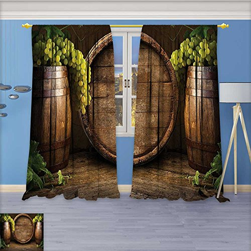 AmaPark Room Darkening Curtains,White Wine with Barrel on Vineyard at in Chianti Tuscany Italy Print,Print Blackout Drapes for Living Room Window Treatment Panels,108