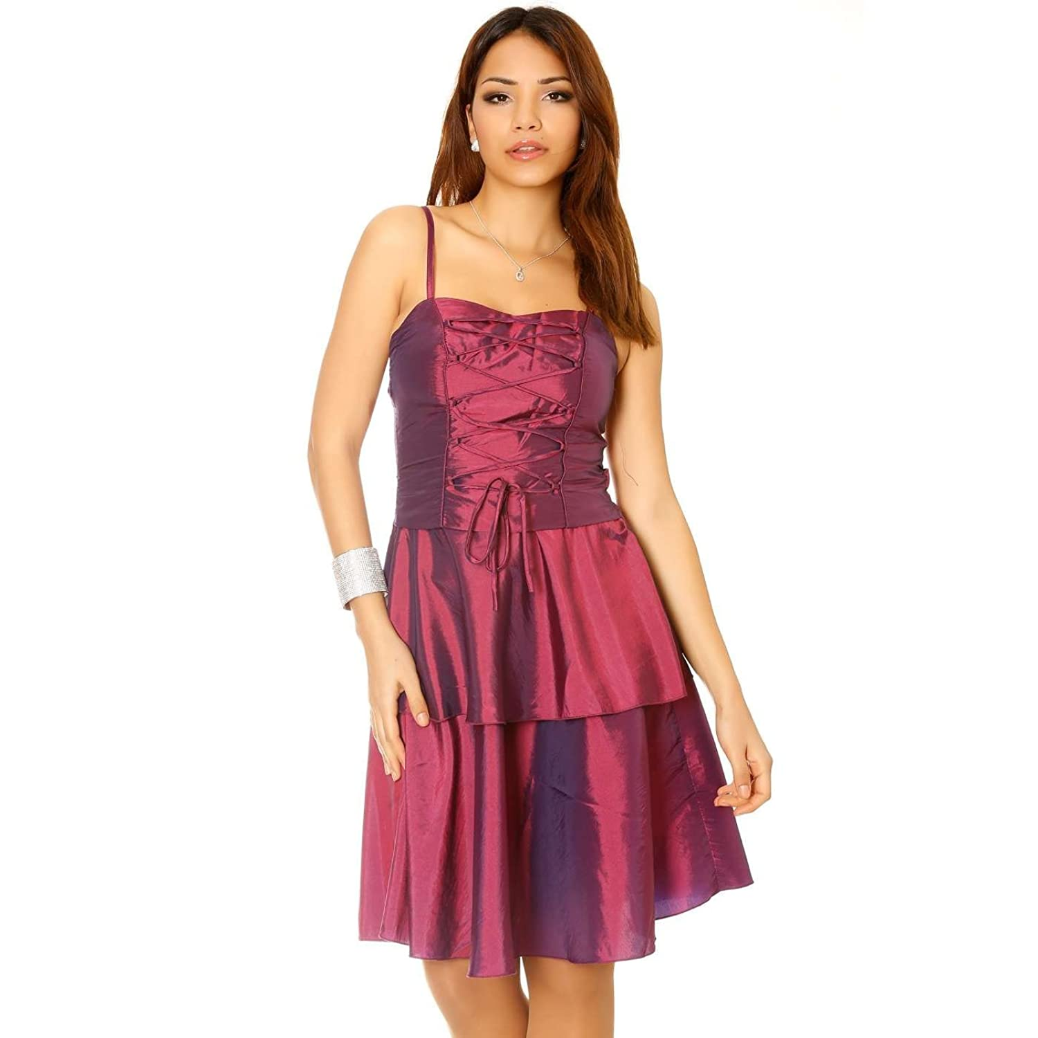 Miss Line?-?Shiny Plum with Lace Evening Dress, Cocktail Dress, Wedding & Party Wear