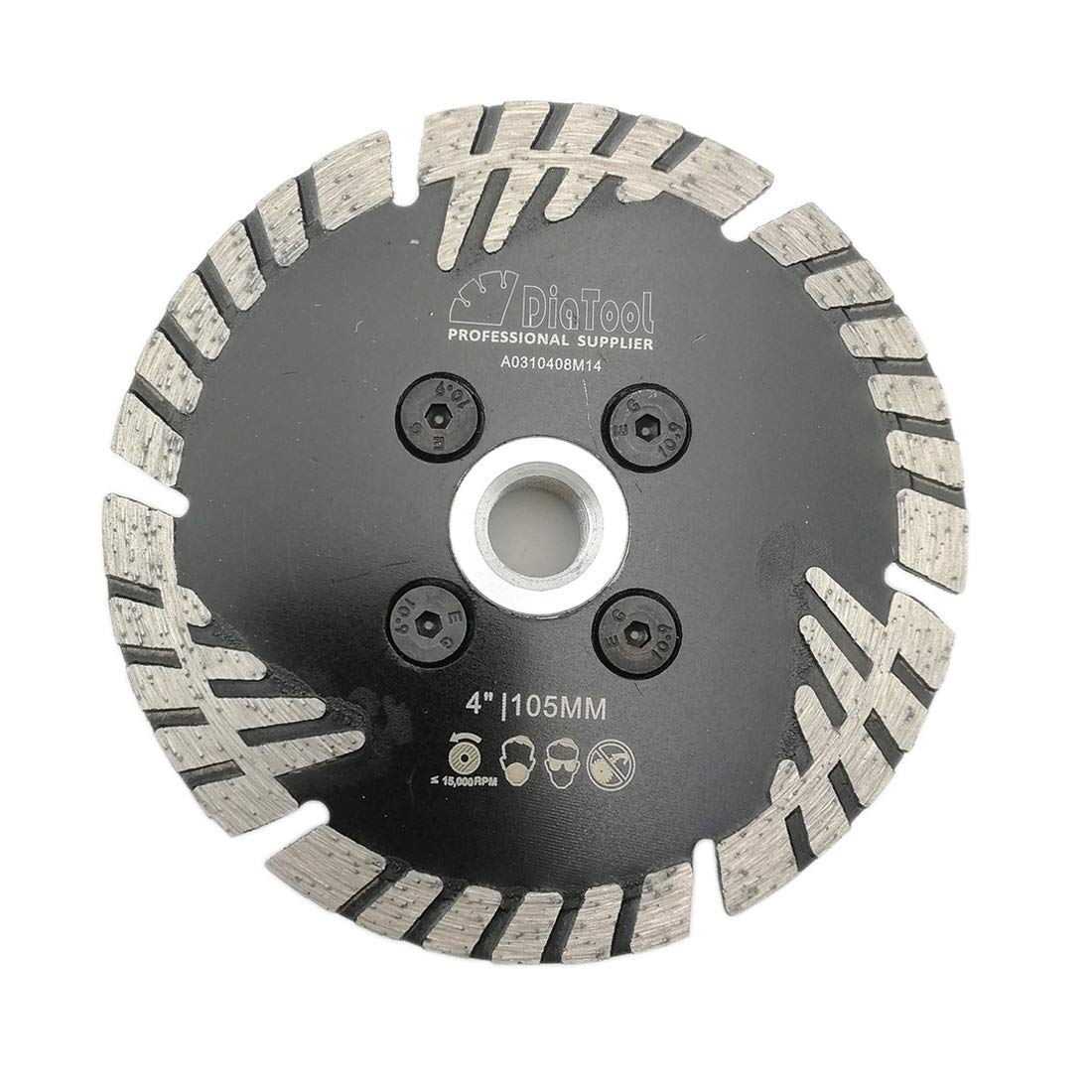 DIATOOL Diamond Turbo Blade Slant protection teeth Hot pressed Cutting Disc 5/8-13 Flange Diamond Grinding Wheel concrete brick tile granite marble masonry (4 inch Flange 5/8-11)
