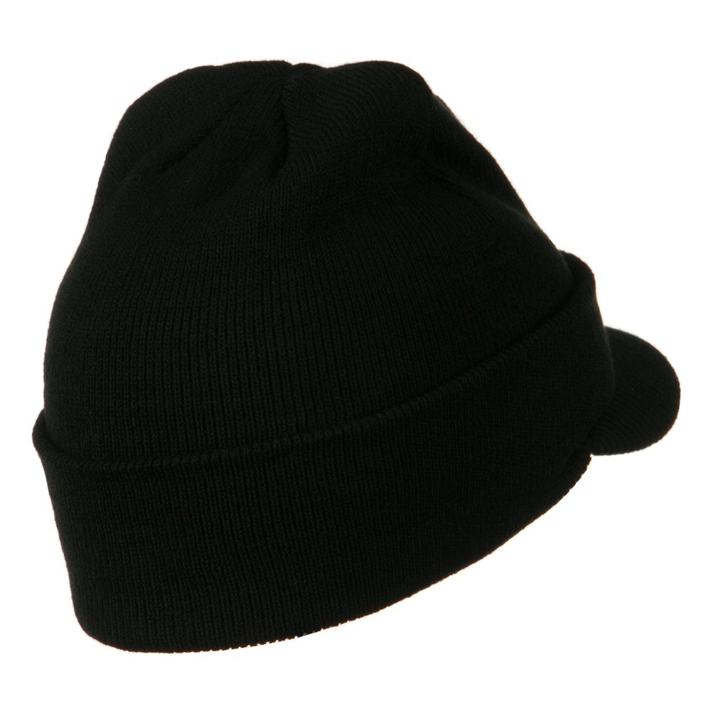 2e5afba889496 MG Cuff Knitted Beanie with Visor Bill - Black OSFM at Amazon Men s  Clothing store  Skull Caps