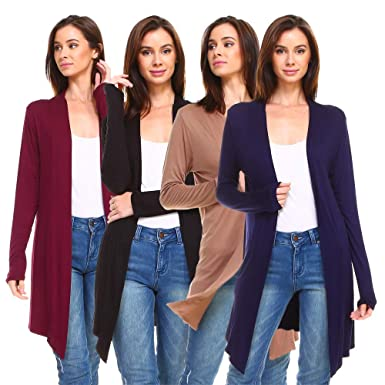08296c8f0d5 Isaac Liev Women's 4-Pack Long Open Front Cardigans at Amazon Women's  Clothing store: