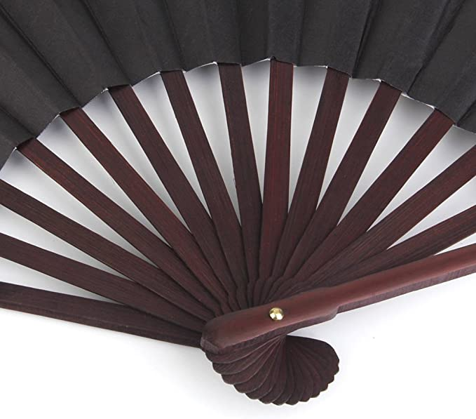 NUOLUX Men Folding Bamboo Blank Hand Fan Wedding Party Gift Color Black:  Home Improvement - Amazon.com