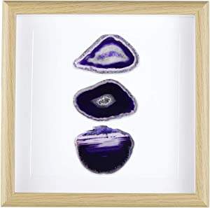 rockcloud 8.8 inches Framed Agate Slice/Natural Agate Geode Gemstone Wall Decor Living Room Dorm Wedding Wall Art Table Top Display Home Decoration, Purple