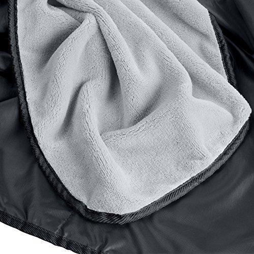 XL Plush Fleece Outdoor Stadium Waterproof and Windproof Picnic Blanket (Charcoal)