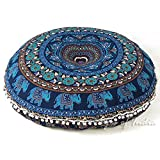 Eyes of India - 32'' Blue 0 Floor Pillow Meditation Cushion Seating Throw Cover Mandala Hippie Round Colorful Decorative Bohemian Boho Dog Bed IndianCover Only