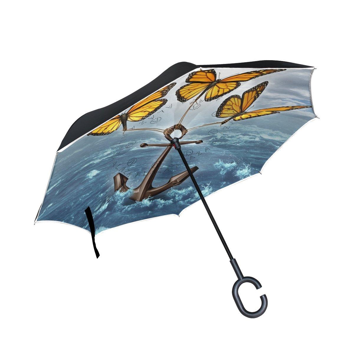 TIZORAX soulever le D inversé double couche droites parapluies sur l'envers réversible Parapluie avec poignée en forme de C pour la pluie Soleil de voiture Utilisation