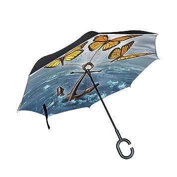 TIZORAX Paraguas Recto de Doble Capa invertido con Mango en Forma de C para Lluvia y