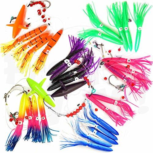 Fish WOW! Fishing Daisy Bird Chain Squid Lure Rig Teaser Trolling - 3 Daisy Bird Chain + 3 Shell Squid Rigs