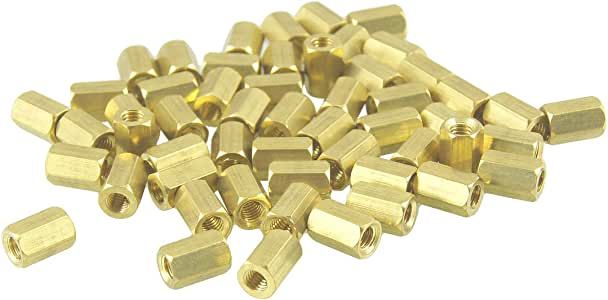 Aexit 50 Pcs Tube Fittings M3X7mm Gold Tone Female Thread Standoff Microbore Tubing Connectors Hexagonal Spacers