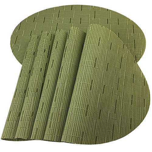 Red-A Placemats, Imitation Bamboo Oval Woven Vinyl Heat Resistant Placemats Washable Table Mats for Kitchen Table Set of 6,Green (Room Dining Placemats)