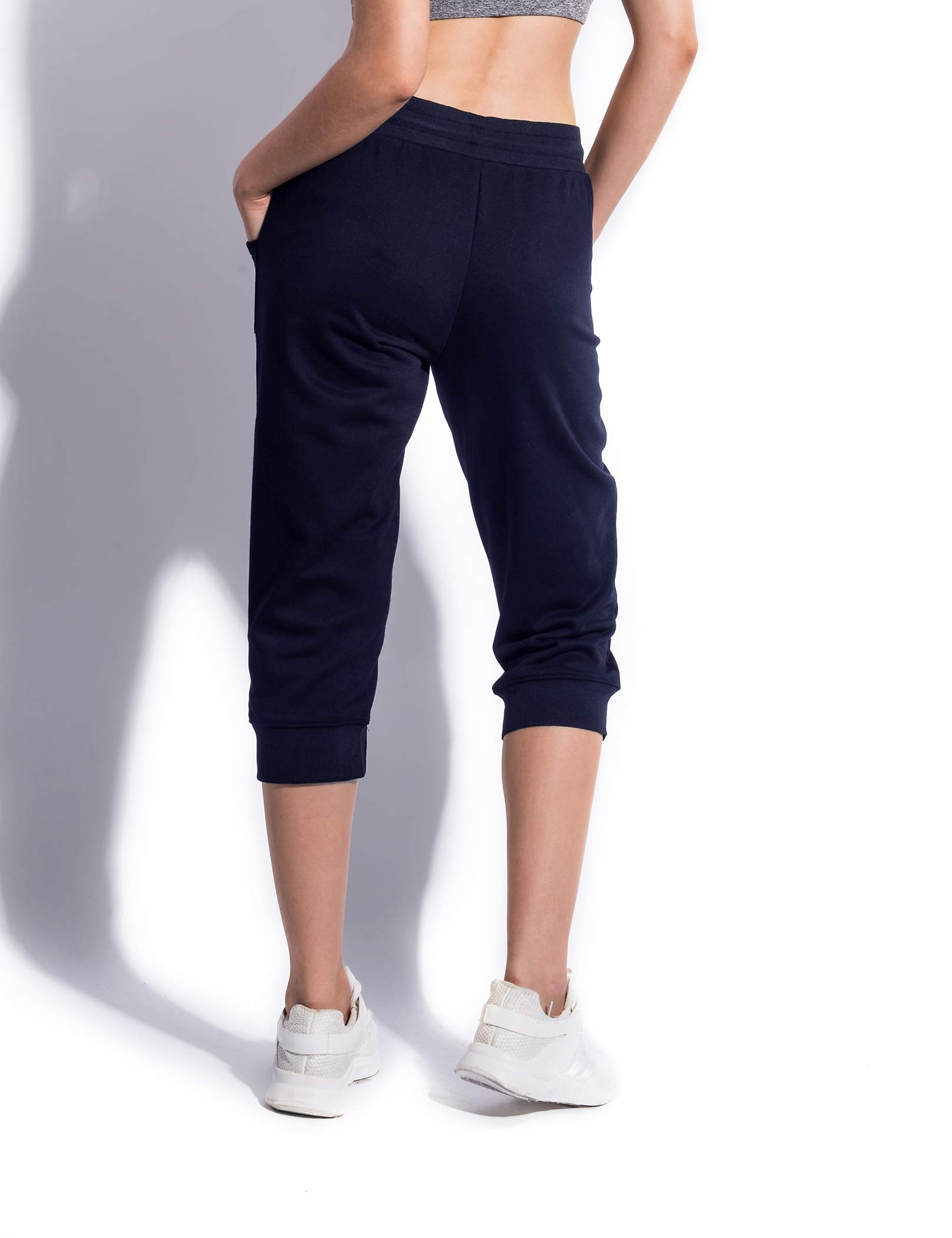 SPECIALMAGIC Women\'s Cotton Jersey Cropped Jogger Sweatpants with Drawstring and Pockets Navy S